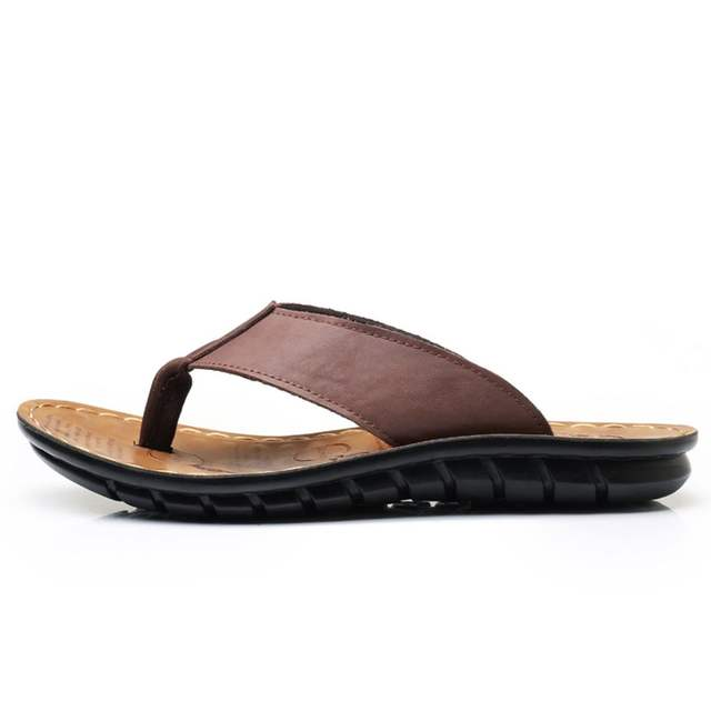 02bdadc4de1 placeholder ZJNNK Cow Leather Men Beach Slippers Fashion Flip Flops With Soft  Sole Trendy Breathable Easy To