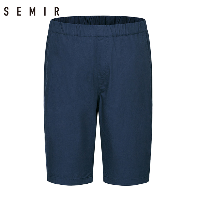 SEMIR leisure men Cotton   Shorts   summer 2018 new Casual Knee Length   shorts   Solid color black   Short   Male trousers