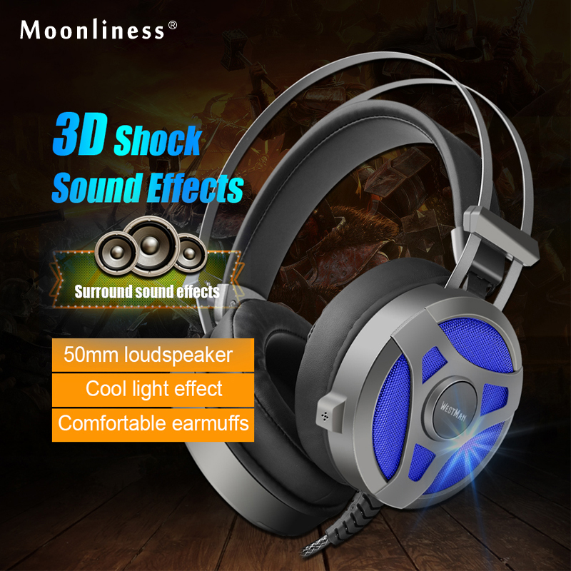 Moonliness Best Gaming Headset Computer Game Headband Over-ear Heavy Bass Stereo with Microphone Mic with LED Light for PC Gamer led bass hd gaming headset mic stereo computer gamer over ear headband headphone noise cancelling with microphone for pc game