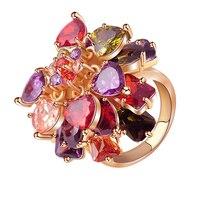 Romantische Kristall Ringe Rose Gold Farbe Big Zirkon Womens Fashion Schmuck Ringe QSP0003-A