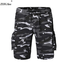 2019 summer men's overalls shorts youth vitality camouflage straight Shorts casual middle waist tidal cotton blend shorts casual camouflage pattern middle waisted shorts