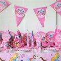 My little pony тема день рождения украшения 10 человек использования 91 шт. в firend большой партии набор посуды бумаги блюдо кубок соломы баннер т. д.