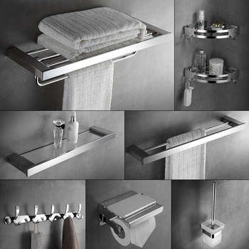 304 Stainless Steel Bathroom Accessories Set Wall Mount Towel Rack, Bathroom Hardware Bathroom Hanging Rack Toilet Shelf Set 1