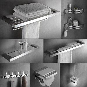 304 Stainless Steel Bathroom Accessories Set Wall Mount Towel Rack, Bathroom Hardware Bathroom Hanging Rack Toilet Shelf Set(China)