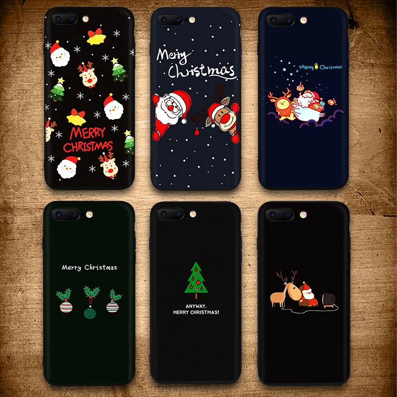 IIOZO Christmas Soft Silicone Phone Case for iphone X 6 7 8 Plus Lovely Santa Claus Deer Tree Snow For iPhone X 6s 8 7plus Cover