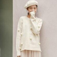 Abrigo de otoño para mujer, suéteres de invierno 2020, harajuku estilo coreano, moda, personalidad, vintage, dulce Bola de Pelo, suéter de punto para mujer