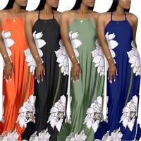Strapless Floral Digital Print Women Maxi Long Dresses Women Backless Dresses