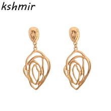 Exaggerated cobweb hollow out delicate petals alloy earring earrings to create girl wholesale