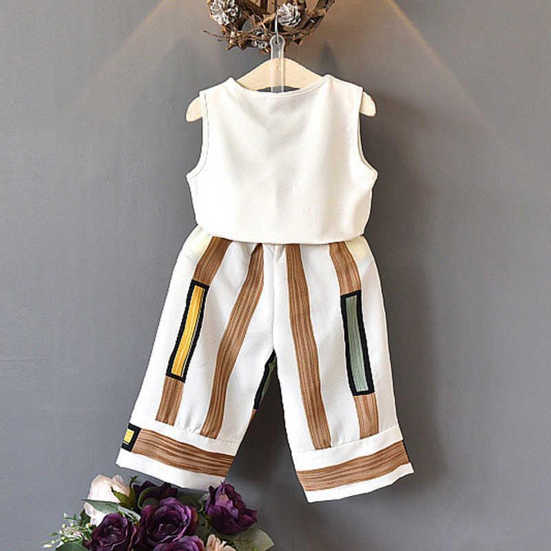 Menoea/костюмы для девочек; коллекция 2019 года; летний модный топ с короткими рукавами для девочек; полосатые Широкие штаны; комплекты одежды для детей
