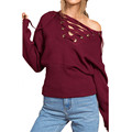 2017 Pullover Women Autumn Winter Sexy Sweater Casual Loose Knitwear Long Sleeve V Neck Lace Up Pullovers Knitted Tops Jumper