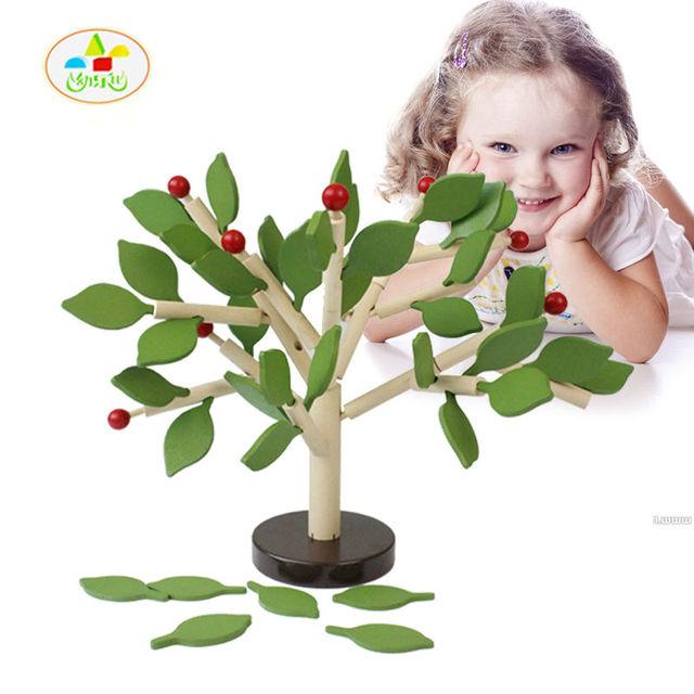 Frete grátis crianças de madeira árvore de montagem blocos brinquedos, crianças árvore de Modelos & Toy Building blocks, combinando/Correspondência/Recoloring