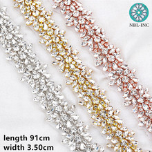 (1 YARD) In Argento da sposa in rilievo di cristallo Strass Applique Trim oro iron on per abito da sposa WDD0278
