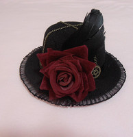 Halloween Retro Women Black Gothic Mini Top Hat Victorian Steampunk Hairclip Feather Rose Hair Accessories Christmas Gift