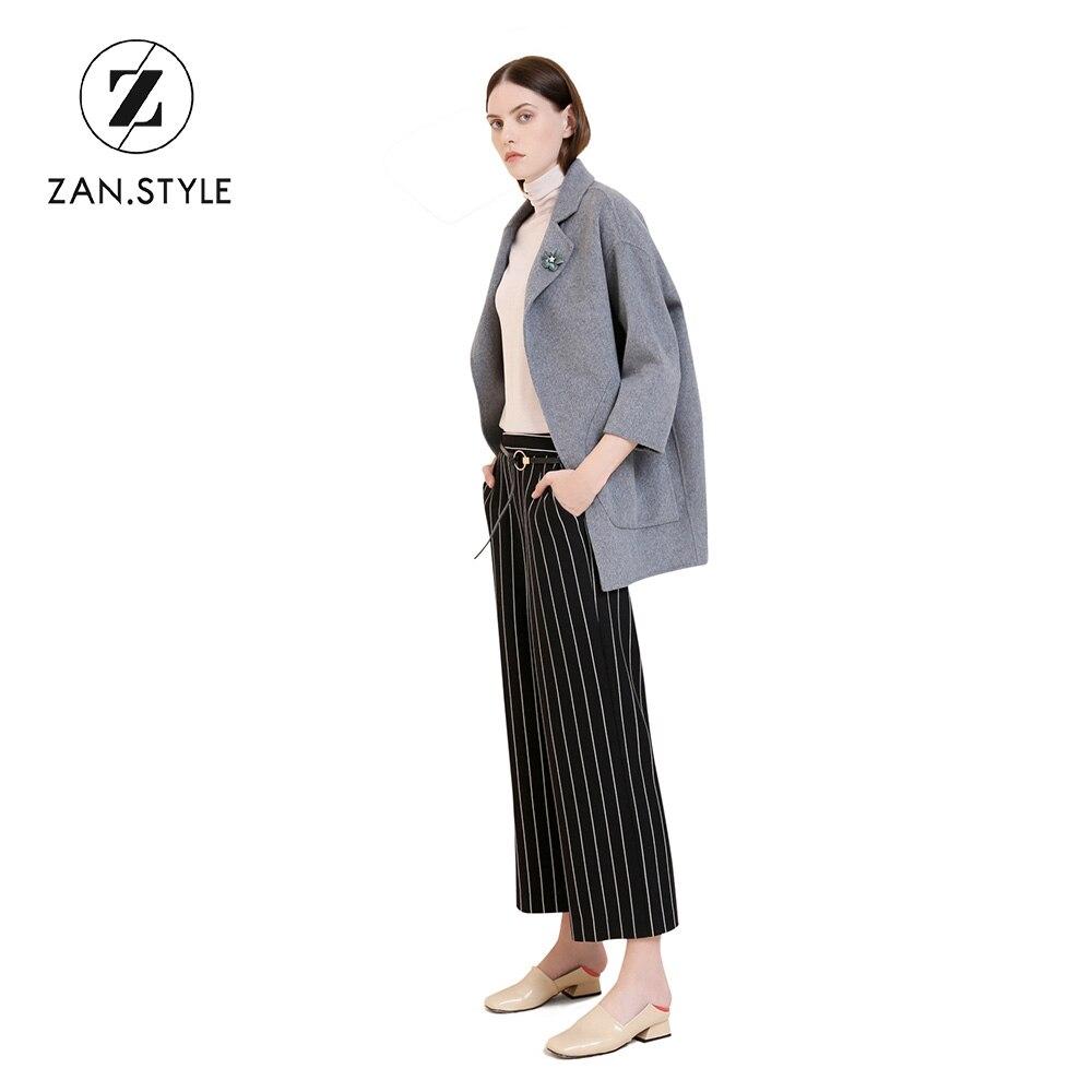 2287788f51 Striped Black Mujer ¿zan Pierna Tamaño White Palazzo Estilo Cintura Pantalon  De Mujeres Mediados Casual Plus Ancha Moda ...