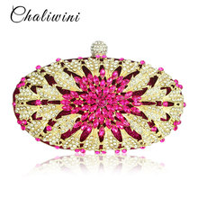 Lady Floral Colorful Diamond Wedding Evening Women Clutch Round Bag Toiletry Purses and Handbags Crossbody Party Shoulder Bags цена 2017