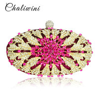 Lady Floral Colorful Diamond Wedding Evening Women Clutch Round Bag Toiletry Purses and Handbags Crossbody Party Shoulder Bags