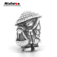 Mistletoe Genuine 925 Sterling Silver Vietnamese doll Charm Bead Fit Troll And Pan Bracelet Jewelry