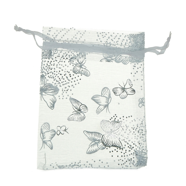 100PCs White Butterfly Organza Wedding Christmas Gift Jewelry Bags & Pouches 9x12cm Fine Gifts Package Storage Organizer