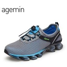 Agemin 2018 Nykomst Sommar Andas Mjukt Lätt Man Mesh Skor För Män Vuxna Sneakers Walking Casual Comfortable Footwear