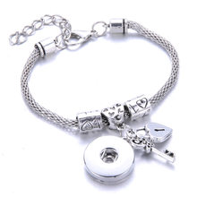 2019 New Snap Bracelet High Quality Silver 18mm Snap Bracelet Adjustable Size Chain Bracelet Watches Snaps Jewelry 2769(China)