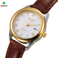 Top NORTH Women's Watch Brand Luxury Quartz Watch Hours Auto Date Fine Fashion Woman Clock Real Leather Strap Girl's Relogio
