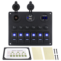 6 Gang Car Control Panel Switch Boat Marine With Circuit Breakers + Led Voltmeter Car Switches + Dual USB Charger