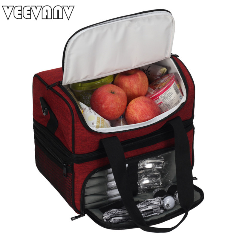 VEEVANV Top Quality Insulated Lunch Bag + GIFTS for Women Large Food Picnic Cooler Box Tote Bag Multifunction Thermal Lunch Bag large jeans oxford new zealand flag lunch bag for women thermal cooler bag shoulder lunch bag food picnic box ice aluminum bag