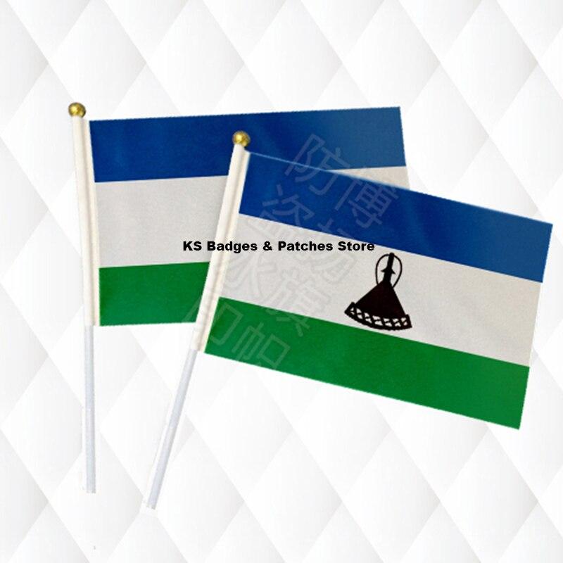Lesotho Hand Stick Tuch Fahnen Sicherheit Ball Top Hand Nationalen Flaggen 14*21 Cm 10 Stücke Viel Ks-0099 Gut FüR Energie Und Die Milz Fahnen, Banner & Zubehör