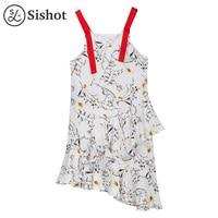 Sishot Women Casual Dresses Summer White Floral V Neck Sleeveless Mid Calf Spaghetti Strap Backless Asymmetric