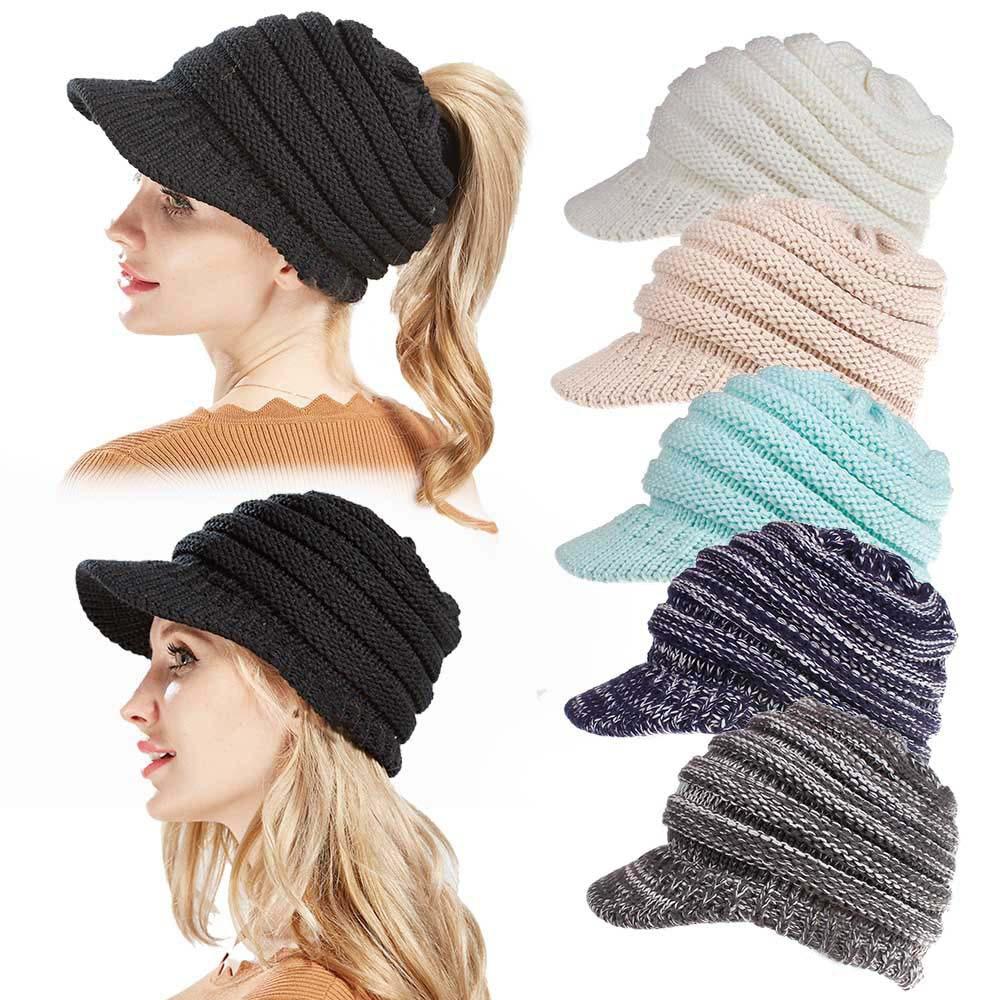 Fashion Style Winter Ponytail Beanies Knit Hats For Women Ladies Beanie Girls Skullies Caps Female Snapback Bonnet Pleated Warm Hat Delaying Senility