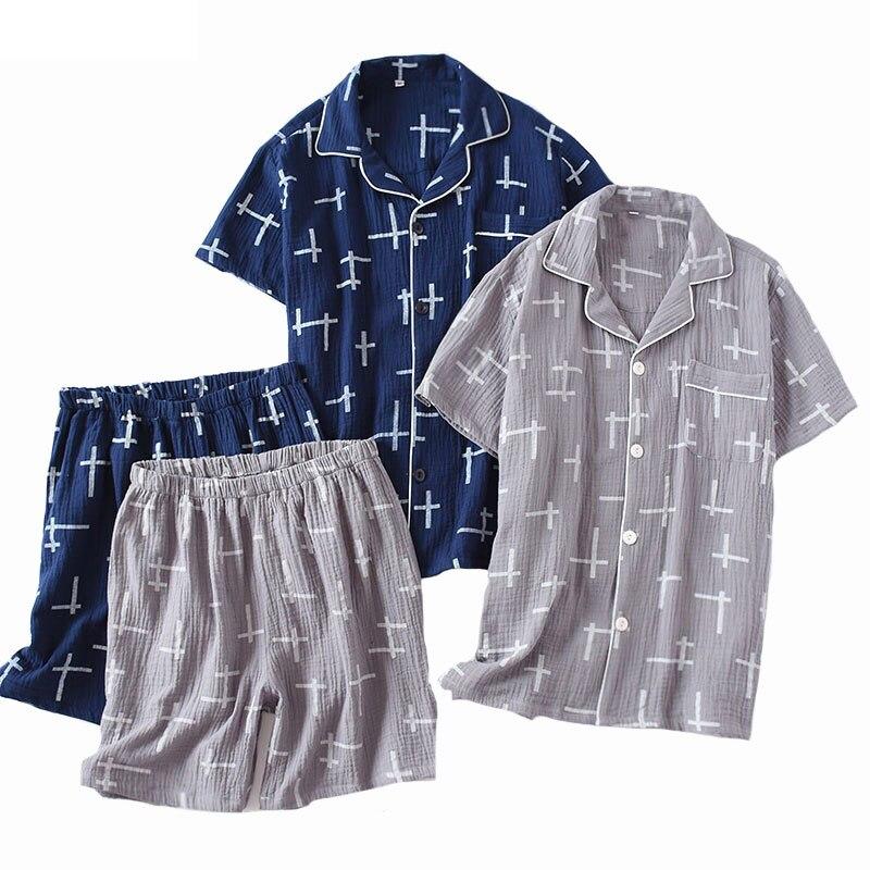 Simple Style Pajamas Set For Men Spring Thin Crape Cotton Short Sleeve+Shorts 2piece Set Casual Spring Wear Comfort Sleepwear