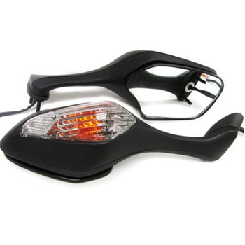 Pair Motorcycle Rearview LED Turn Signal Side Mirrors For