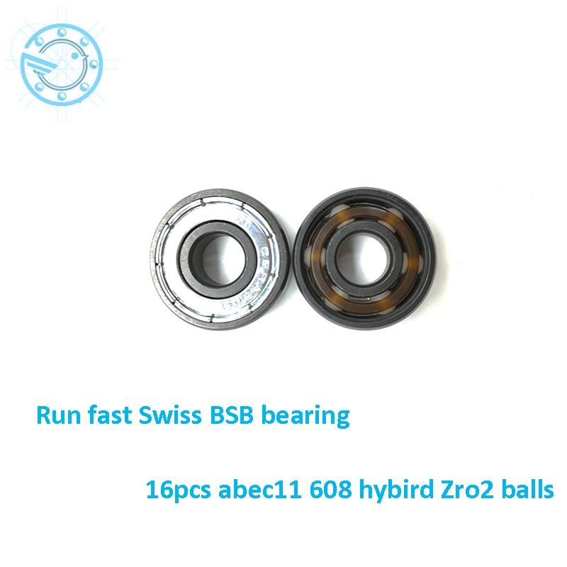 Free shipping 4pcs Abec11 608 Zro2 Hybrid Ceramic 608 Inline Skate Bearing 608 2rs Skateboard Speed Skate Roller Hand Spinner