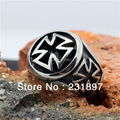 Tamanho 7 ao tamanho 15 Moda Anéis do Motociclista para Homens Cruz de Aço Inoxidável 316L Partido Anel Gothic New Arrival