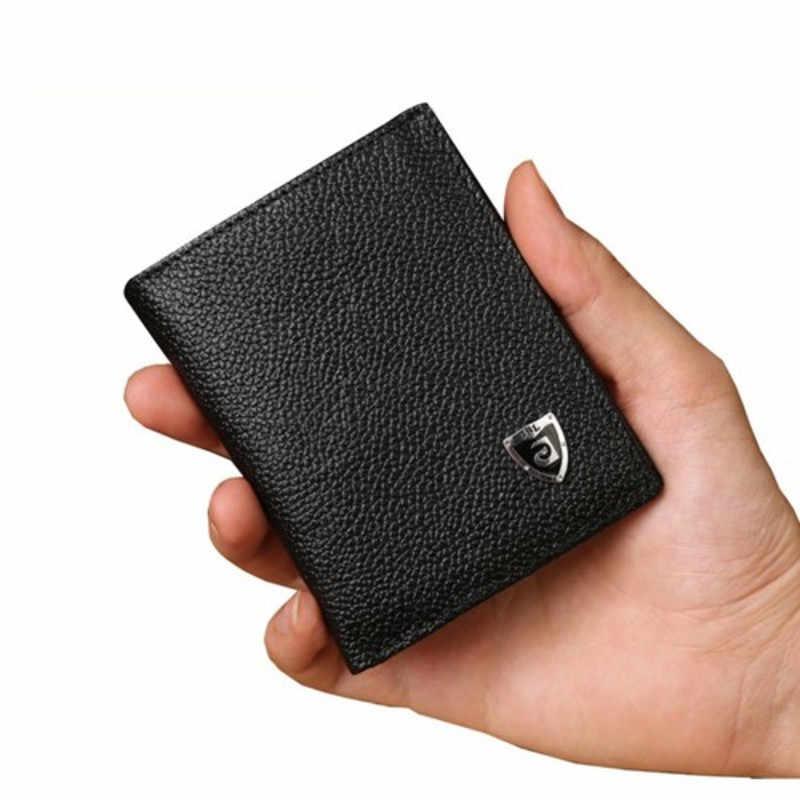 84fb012df Nueva Promoción carteras de hombre delgadas de tamaño pequeño Mini Cartera  de cuero genuino tarjetero de
