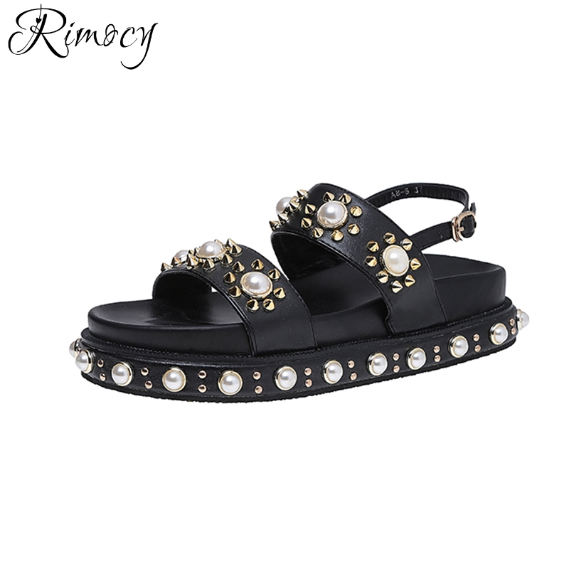 Rimocy platform pearls women summer sandals 2017 punk rivet casual shoes woman ankle strap black white Gladiator sandals ladies phyanic platform gladiator sandals 2017 new casual wedge shoes woman summer women ankle boots side zipper party shoes phy5036