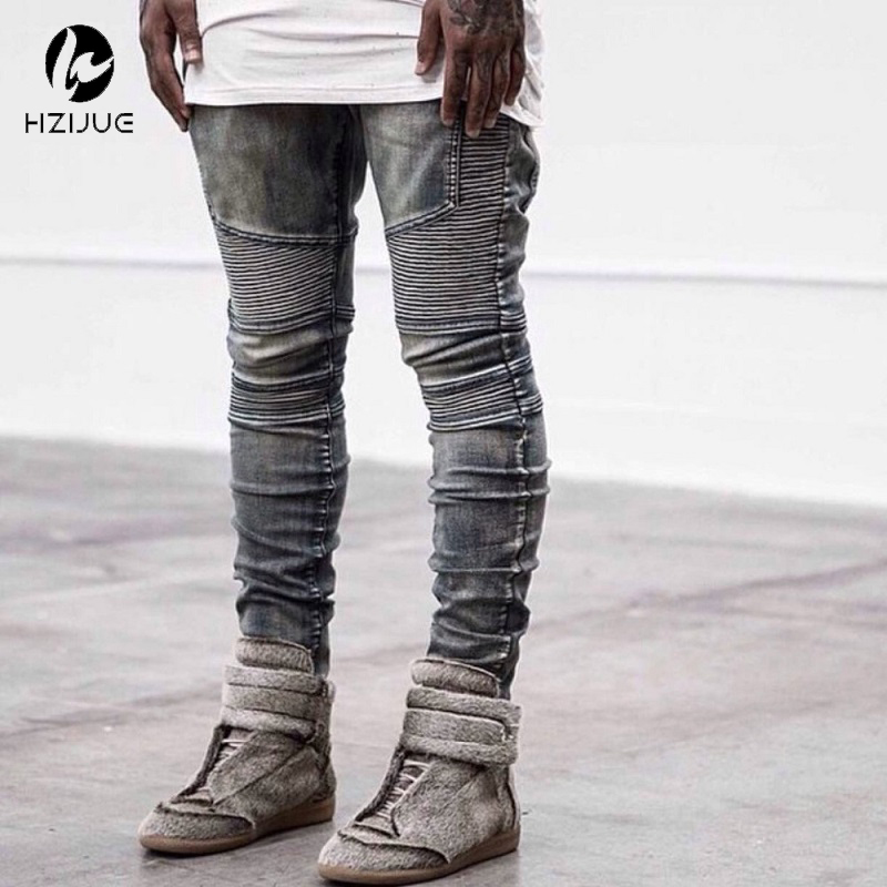HZIJUE Hot Sale Mens Skinny Biker Jeans Slim Fit Stretch Denim Fabric Hip Hop Jean Pants Washed Biker Denim EUR Size 4 Colors dsel designer men jeans slim fit straight denim thin stretch mens skinny biker jeans casual pants hip hop denim trousers