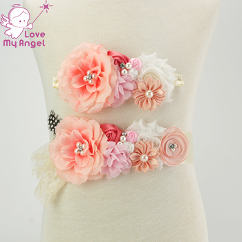 2pcs/set vintage coral peach flower girl sash maternity sash baby shower sash photography prop Accessories