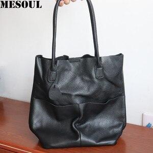 Женская сумка на плечо meshoul, Большая вместительная сумка-мешок из мягкой натуральной кожи, сумки для покупок, 2019