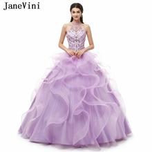 JaneVini Очаровательная лиловые праздничные платья длинное бальное платье Холтер Кристаллы бисера Паффи Большой размер, принцесса тюль Сладкие 16 Платья