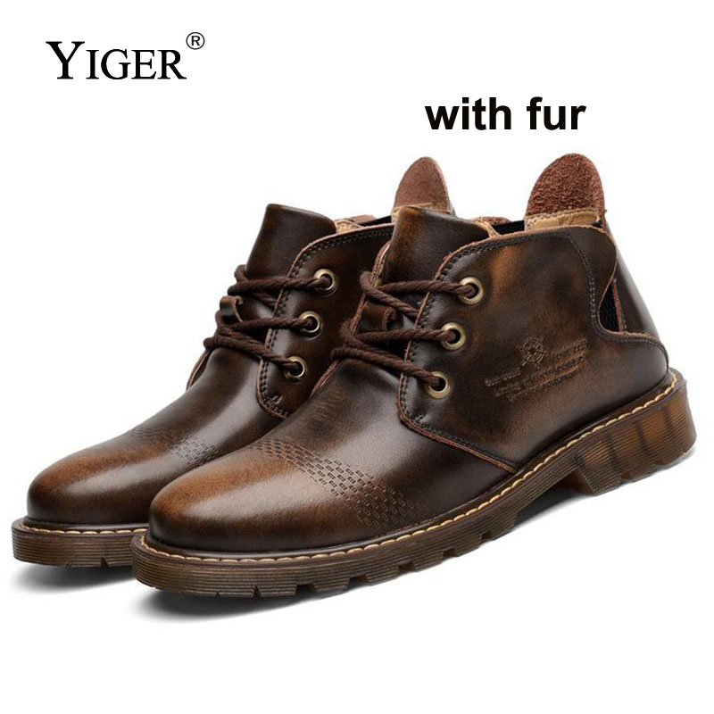 YIGER Новый Для мужчин сапоги Повседневное Martin ботинки из натуральной кожи коричневый/красный ботильоны на шнуровке с мехом осень/зима теплые...