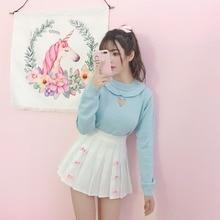 Милый свитер принцессы в стиле Лолиты; свитер в японском стиле с милым сердцем для девочек; сезон весна-осень; свитер с оборками; чистый цвет; синий свитер; XH017