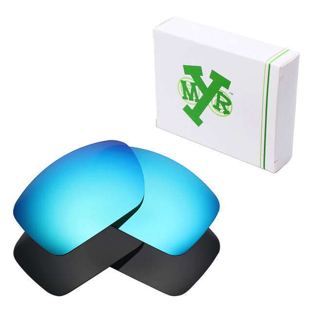 de248448869 2 Pairs Mryok POLARIZED Replacement Lenses for Oakley Big Taco Sunglasses  Stealth Black   Ice Blue