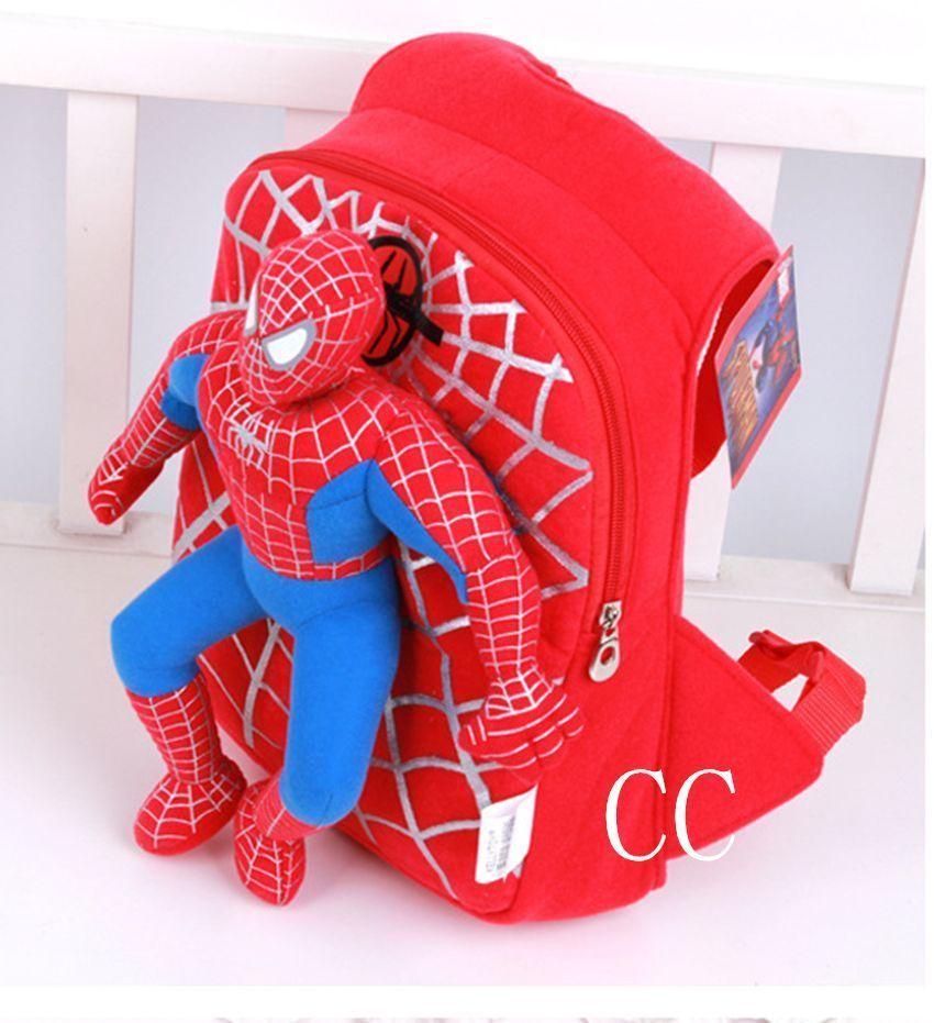 35*25*10cm mignon enfants en bas âge enfants maternelle Spiderman peluche poupée sac d'école sac à dos