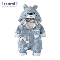 Ircomll Infant Baby Rompers Cotton Padded Thicken Newborn Boys Girls Clothes Unisex kid Jumpsuits Autumn Cartoon Bear Toddler