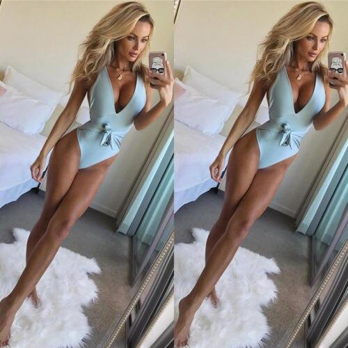 2018 New Summer Women One-Piece Swimsuits Bandage Push up Monokini Bikini Women Swimwear Halter Bathing Suits