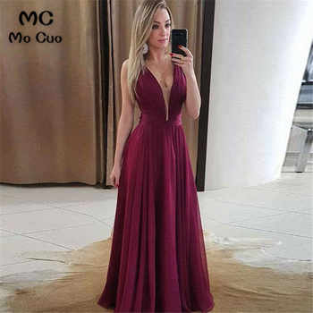 In Stock 2019 Ready Evening Dresses Long Robe de soiree V Neck Shiny Satin Front Slit Backless A-Line Evening Party Dresses