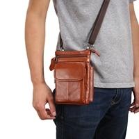 Cow Genuine Leather Messenger Bag Men Travel Business Casual Crossbody Shoulder Bag Phone Case Wallet Cover Waist Belt Clip Pack