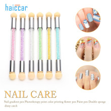 HAICAR High Quality 1Set Glitter Powder Picking Dotting Gradient Pen Brush + 6 Sponge Nail Art Tools Pretty Manicure Brush