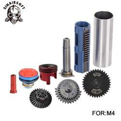 SHS 12:1 de boquilla cilindro resorte guía 14 dientes pistón Kit de Airsoft M4 M16 AK MP5 G36 para Paintball accesorios caza